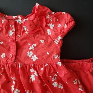 Baby Girls Red Floral Short Sleeve Outfit
